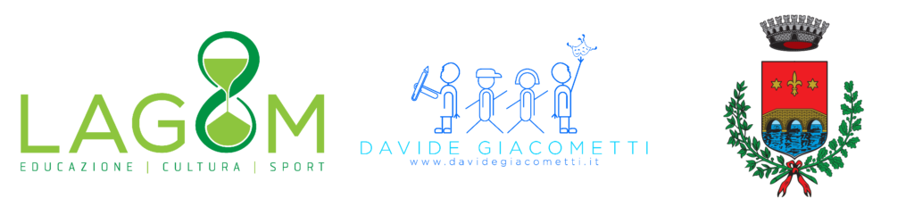 logo di LAGOM APE e ASD - Logo di Davide GIacometti - Logo del Comune di Ponte San Nicolò